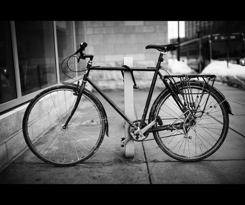 10 steps to simple living challenge: B&W photo of a bicycle.
