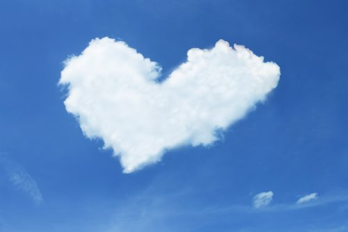 A poem: In All Things Be Thankful. Photo of a heart-shaped could in a blue sky.