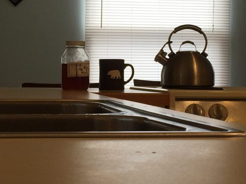 Minimalist Kitchen: Photo Of Clean Counter, Tea Kettle On The Stove And Tea  Cup
