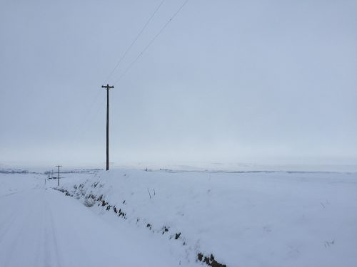 Minimalism alone: photo of lone telephone pole in snowy plains.