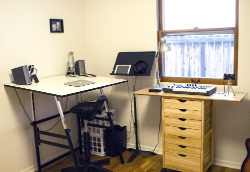 5 daily tasks to keep your home uncluttered: Photo of my music studio by Deccio Creative.