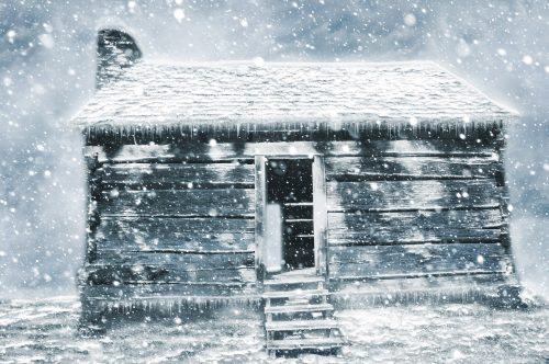 Finding home for the holidays: Photo/art to small house in snow.