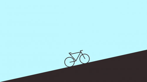 Internal locus of control and minimalism: Drawing of bicycle on a hill.